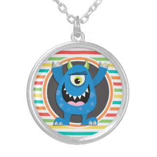 Blue Monster Bright Rainbow Stripes Personalized Necklace