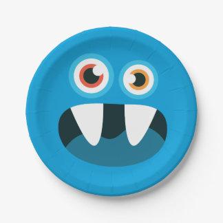 Blue Monster Face Paper Plate