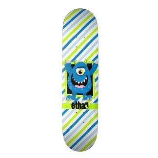 Blue Monster;  Neon Green, White Stripes Skateboard Decks