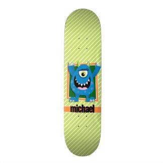 Blue Monster on Lime Green & White Stripes 20.6 Cm Skateboard Deck