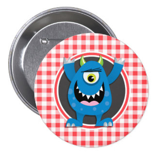 Blue Monster on Red and White Gingham Buttons