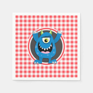 Blue Monster on Red and White Gingham Paper Napkins
