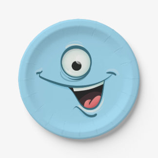 Blue Monster Plates 7 Inch Paper Plate