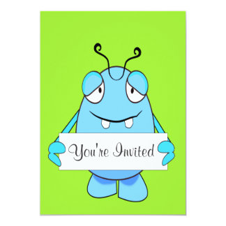 """Blue Monster With Party Hat For Birthday 5"""" X 7"""" Invitation Card"""