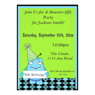 Blue Monster With Party Hat For Birthday 13 Cm X 18 Cm Invitation Card