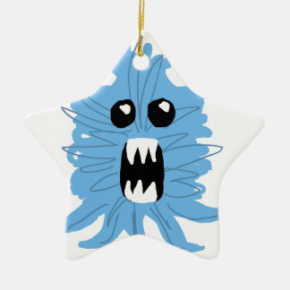 Blue Monster Wrapping Paper Ceramic Ornament