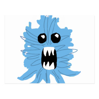 Blue Monster Wrapping Paper Postcard