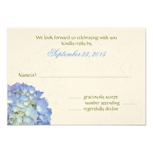 Blue Moon Art Hydrangea Wedding Reply Cards Personalized Invitation