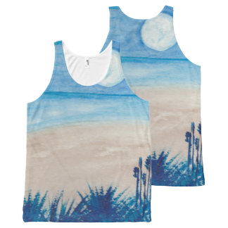 Blue Moon at the Beach All-Over Print Singlet