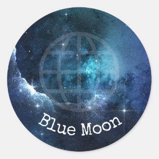 Blue Moon Globe Grid Blue Stars Sticker