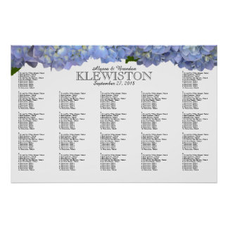 Blue Moon Hydrangea Wedding Seating Chart Poster