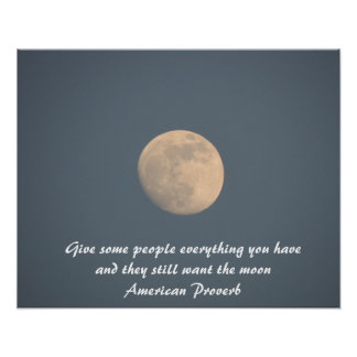 Blue Moon poster, quote. American proverb Poster