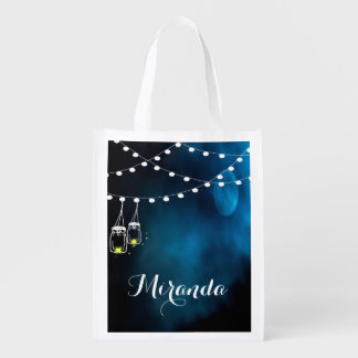 Blue moon with light strings and mason jars reusable grocery bag
