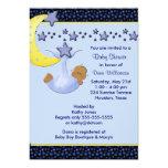 Blue Moon  Yellow Stars Ethnic Boy Shower Invitations