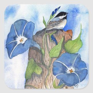 Blue Morning Glories and Chickadee Square Sticker