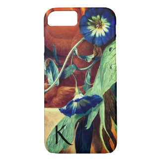 BLUE MORNING GLORIES FLORAL MONOGRAM iPhone 8/7 CASE