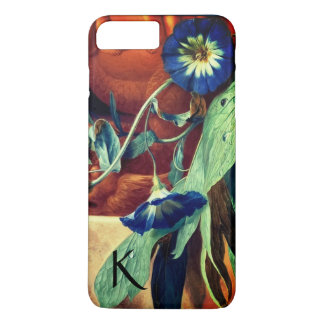 BLUE MORNING GLORIES FLORAL MONOGRAM iPhone 8 PLUS/7 PLUS CASE