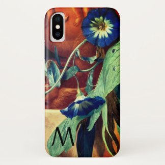 BLUE MORNING GLORIES FLORAL MONOGRAM iPhone X CASE