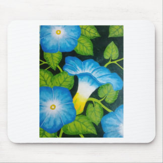 Blue Morning Glories Mouse Pad