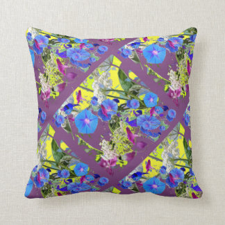 Blue Morning Glories Patterned  Puce Pillow