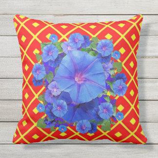 Blue Morning Glories Red-Yellow Art Throw Pillow
