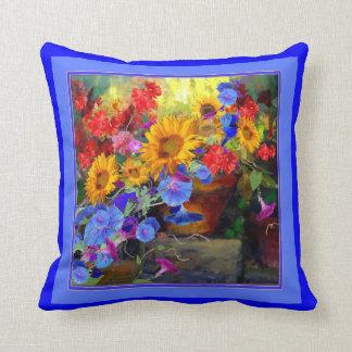 Blue Morning Glories Still Life Throw Pillow