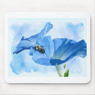 Blue Morning Glory and Bumblebee Mouse Pad