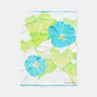 Blue Morning Glory Fleece Blanket