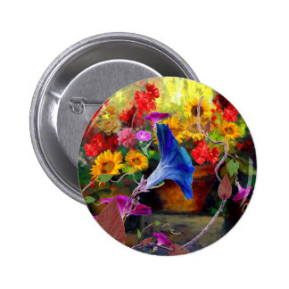 Blue Morning Glory Flower Garden 6 Cm Round Badge
