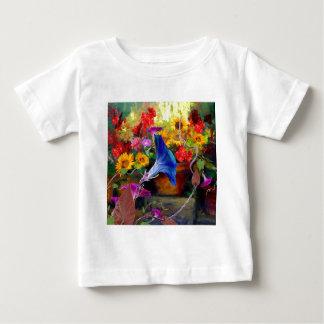 Blue Morning Glory Flower Garden Baby T-Shirt