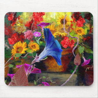 Blue Morning Glory Flower Garden Mouse Pad