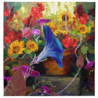 Blue Morning Glory Flower Garden Printed Napkins
