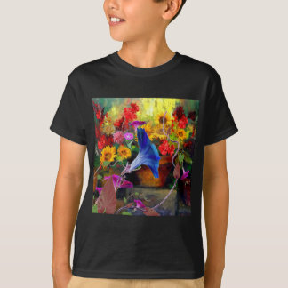 Blue Morning Glory Flower Garden T-Shirt