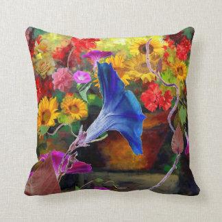 Blue Morning Glory Flower Garden Throw Pillow