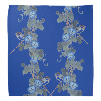 Blue Morning Glory Flowers Birds Animals Bandana