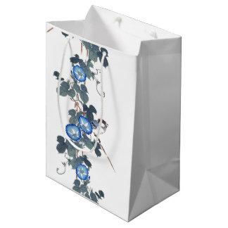 Blue Morning Glory Flowers Birds Gift Bag