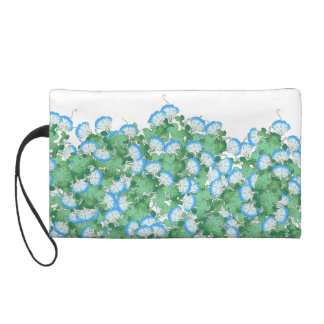 Blue Morning Glory Flowers Floral Vintage Bag Wristlet Purses