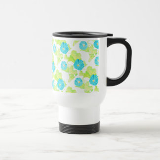 Blue Morning Glory Garden Travel Mug