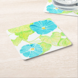 Blue Morning Glory Square Paper Coaster
