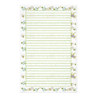 Blue Morning Glory Watercolor Flowers Lined Personalized Stationery