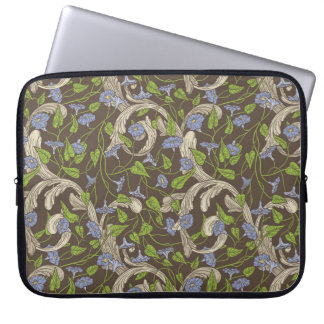 Blue morning glory with ornaments laptop sleeve