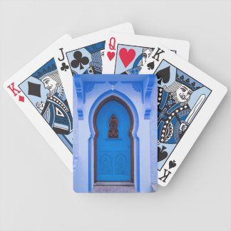 Blue Moroccan Door Bicycle Playing Cards