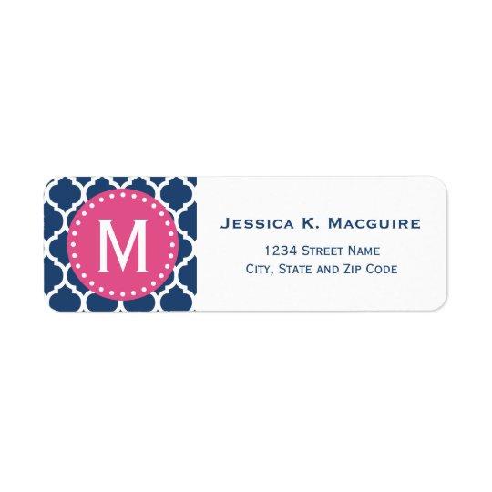 Blue Moroccan Lattice Pink Monogram Frame Return Address Label