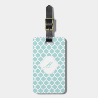 Blue Moroccan Pattern with Monogram Luggage Tags