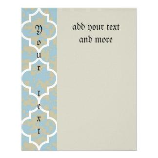 "blue,moroccan,quatrefoil,pattern,trendy,modern,fun 4.5"" x 5.6"" flyer"