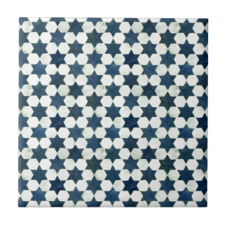 Blue Moroccan Star Pattern Ceramic Tile