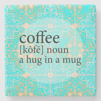 Blue Moroccan Tile Coffee Hug in a Mug Stone Coaster