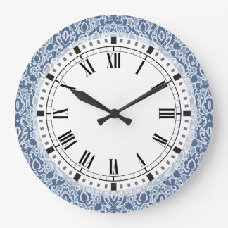 Blue Morocco Elegant Casbah Damask Clocks