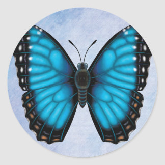 Blue Morpho Butterfly Classic Round Sticker