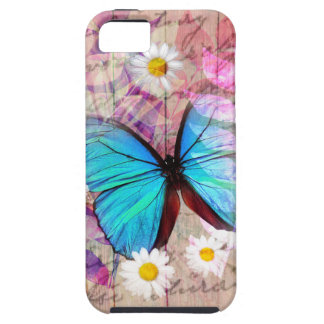 Blue Morpho butterfly daisies barn wood collage Case For The iPhone 5